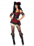 Sexy Piratin Damenkostüm mit Schnürung Halloweenkostüm rot-schwarz
