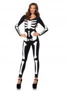 Skelett-Damenkostüm Halloween Catsuit schwarz-weiss