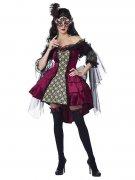 Viktorianischer Maskenball Damenkostüm Halloweenkostüm burgund-schwarz