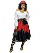 Piratenrock mit Gürtel für Damen schwarz-rot-goldfarben