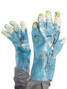 Zombie Halloween Handschuhe blutig blau-rot