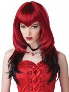 Gothic Vampirin Pony-Perücke rot-schwarz