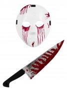 Blutiges Halloween-Set Hockeymaske und Messer weiss-rot 2-teilig