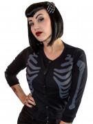 Kreepsville Gothic Cardigan Skelett Weste schwarz-grau