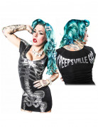 Kreepsville Gothic Mini-Kleid Skelett schwarz-silber