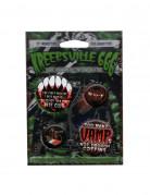 Kreepsville Vampir-Button Set 4-teilig schwarz-rot