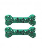 Kreepsville Gothic Haarklammer-Set Knochen Strasssteine grün