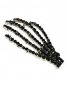 Kreepsville Gothic-Brosche Skeletthand schwarz-silber