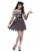 Rockabilly Zombie Halloween Damenkostüm schwarz-weiss