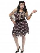 Rockabilly Zombie Halloween-Damenkostüm Übergrössen schwarz-weiss
