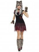 Süsser Werwolf Halloween Damenkostüm grau-rot