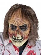 Zombie-Horror-Maske mit Haaren beige-braun