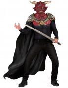 Dämon Halloween Latex-Maske Teufel rot-weiss-gold