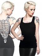 Gothic Skelett Top Brustkorb schwarz-weiss