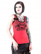 Gothic Top Totenkopf mit Spitze rot-schwarz