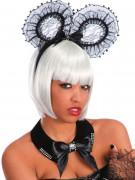 Gothic Halloween Schmuckkragen mit Glitzersteinen schwarz-weiss