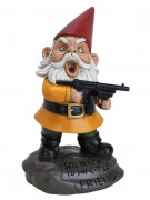 Wütender Gartenzwerg mit Maschinengewehr Halloween-Dekofigur bunt 27cm