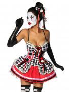 Sexy Harlekin-Kostüm für Damen rot-schwarz-weiss