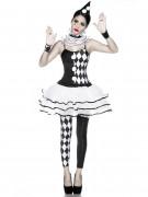 Harlekin-Damenkostüm Halloweenkostüm schwarz-weiss
