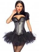 Edle Gothic Burlesque Corsage mit Spitze grau-schwarz
