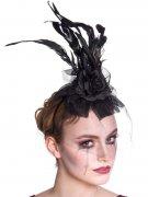 Gothic Tiara Haarreif mit Spitze und Rosen schwarz