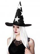 Hexenhut mit Haaren und Sternen Halloween schwarz-weiss