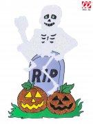 Skelett Fensterdeko Halloween Glitzer bunt 25x38cm