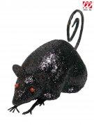 Glitzer Maus Halloween-Deko schwarz 30x5x7 cm