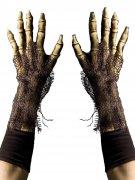 Skelett Hände Halloween Handschuhe beige-schwarz