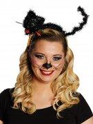 Katzen-Haarreif für Damen Halloween-Zubehör schwarz