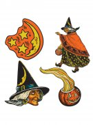 Hexe Pappfiguren Halloween Party-Deko-Set 4-teilig bunt