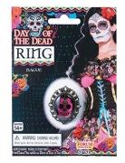 Skelett Medaillon-Ring Día de los Muertos-Accessoire gold-pink-schwarz