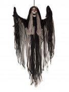 Unheimliches Skelett Halloween Hänge-Deko schwarz-grau 90cm