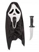 Scream™ Halloween Maske mit Messer Lizenzartikel Kostüm-Set 2-teilig schwarz-weiss