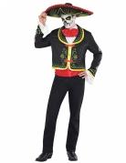 Tag der Toten Skelett-Mann Halloween Kostüm schwarz-bunt