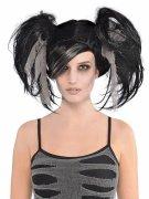 Zombie Damenperücke mit Zöpfen schwarz-grau