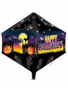 Happy Halloween Folien-Luftballon Halloween Party-Deko schwarz-gelb-lila 43x53cm