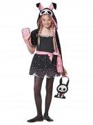 Süsser Skelett-Hase Halloween Kinderkostüm schwarz-rosa