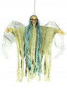 Gruseliger Todesengel animiert mit Leuchtaugen Halloween-Hängedeko beige-hellgrün 35cm