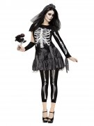 Skelett-Braut Halloween-Damenkostüm schwarz-weiss