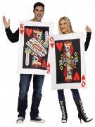 Karten-Paarkostüm für Erwachsene Halloween weiss-rot-schwarz
