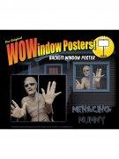 Horror-Mumie Halloween Fenster-Sticker 2 Stück schwarz-beige 91x152cm