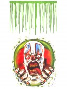 Psycho-Clown mit Blut Toiletten-Aufkleber Halloween-Deko 2-teilig bunt