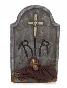 Grabstein RIP Skelett mit Leuchtaugen Halloween-Deko 66cm grau
