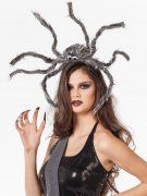 Gruseliger Spinnen-Haarreif Halloween Kopfschmuck grau-schwarz