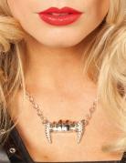 Halskette Vampirzähne mit Schmucksteinen Halloween silber