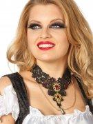 Edles Gothic-Collier Spitze mit Schmucksteinen Halskette schwarz-rot-gold