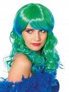 Meerjungfrau Langhaar-Perücke Nixe grün-blau