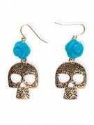 Gothic Ohrringe Totenkopf mit Rose gold-hellblau