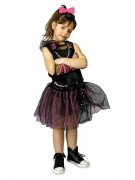 Funky Punkerin-Kinderkostüm schwarz-pink